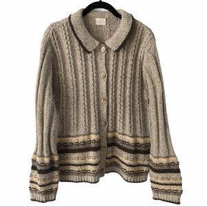 Cleo Tan Knit Wool Blend Cardigan Sweater medium